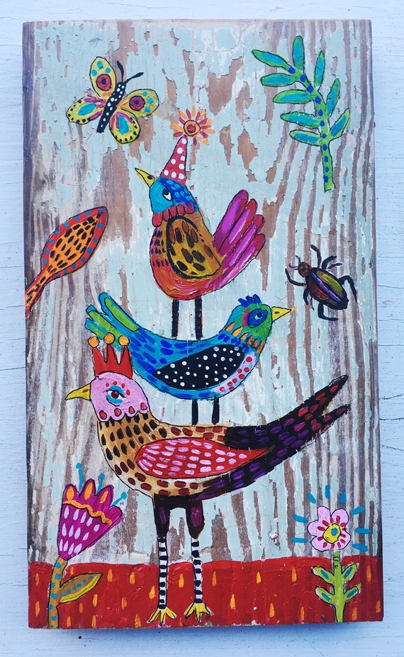 Small folk art bird painting on wood for Art sites like etsy