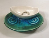White Boat Trinket Dish - Crackle Glass Ceramic Ring Holder Pottery - New Blue Spiral Dish