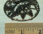 Solid Sterling Repousse Pin, Acorns, Stylized Oak Leaf, Vine