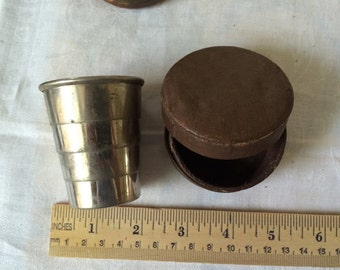 Antique Collapsable Cup In Leather Case, Gentleman, travel, nip