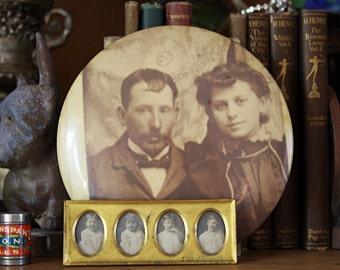 Vintage CELLULOID PHOTO- Sepia Toned Portrait- Victorian Couple