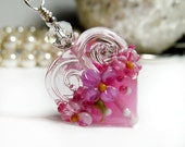 Valentines Heart Necklace, Glass Lampwork Necklace, Heart Necklace, Valentine's Day, Hearts and Flowers, Pink Flower Necklace, Mother Gift