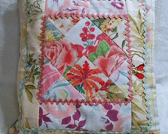 Vibrant PASTEL PATCHWORK ROSES Cherries Pillow Cover Sham, Scrappy Feedsack & Tablecloth Collage, Morning Glory Palm Tree Rick Rack Envelope