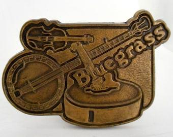 Bluegrass Music Belt Buckle Violin Fiddle Banjo Guitar Country Musician Boho Hippie
