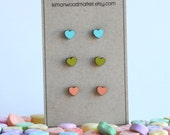 Heart earrings - alder laser cut wood earrings - Valentines earrings