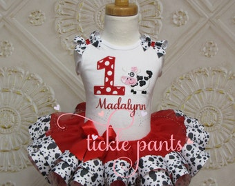 MooCow Birthday Tutu Outfit - Farm - Cow print and RED - Includes embroidered top and ruffled tutu -  More colors/animals available