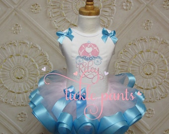 Cinderella Coach Birthday TutuOutfit - Pink and baby blue - Includes embroidered top and ruffled tutu - Perfect for birthdays and Disney!
