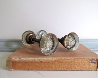 Reserved for Jude Glass Door Knobs Brass Hardware 1920's Vintage Glass Pull Home Improvement
