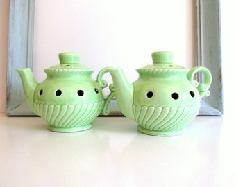 Vintage Green Teapot Candle Holders Pair Wedding Shower Decor Vintage Kitchen Display
