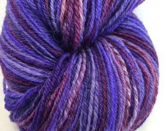 "Handspun Sock Yarn ""Amethyst"" 480 yds SW Merino Alpaca Silk Nylon"