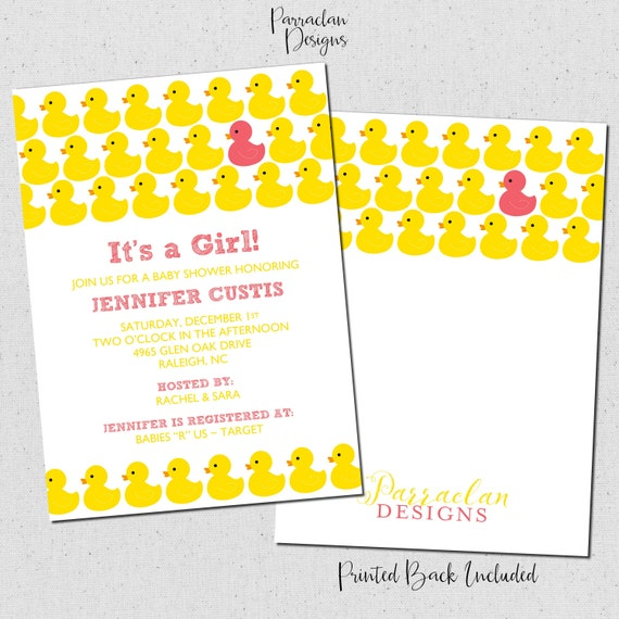 Rubber Duck Baby Shower Invitations | Rubber Ducky Baby Shower Invitation | Printable | Digital | Baby65