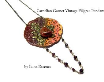 Red Carnelian Garnet Pendant  Beaded Jewelry Hippie Jewelry Boho Chic Wearable Art