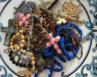 Repurpose salvage Religious Catholic cross Black Silver tone Rhinestone earring lot destash harvest