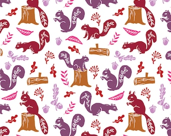 Autumn Fabric - Squirrels // Kids Oak Nature Woodland Forest Critter Animals Block Print Linocuts Cute Fall Colors By Andrea_Lauren