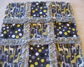 Yellow Gray White Giraffes Baby Girl Security Rag Quilt Blanket 22x22