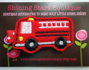 Hair Accessories - Felt Hair Clips - Red And Black Embroidered Felt Firetruck Hair Clippie For Girls - Emergency Cars Or Vehicles