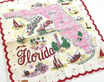 Vintage Florida handkerchief hankie MWT 1950s pink flamingos bathing beauties Floridiana souvenir map