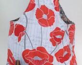 The Wanderer - Poppies - Wrist hanging reversible project / knitting / fiber bag