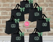 SALE - 7 bridesmaid tote bags , bridesmaid gifts , bachelorette party gift , monogrammed bridal party gift