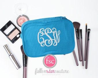 Turquoise makeup bag , bridesmaid waffle make-up bags, monogrammed bag, wedding bag , bridesmaid gifts , personalized bridesmaid gifts
