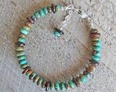 Green Blue Turquoise Brown Shell Boho Bohemian Natural Gemstone Healing Bracelet