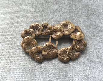 Art Nouveau Brass Double Wreath Brooch Pin / 1920s /1930s