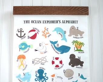 Nautical Nursery Art. Nursery Alphabet Art. Ocean Nursery Decor, Beach Nursery Decor. Under the Sea Nursery. ABC Wall Art for Nursery.