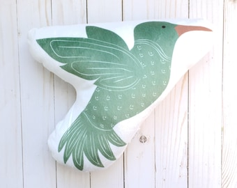 Hummingbird Pillow, Animal Pillow, Woodland Nursery, Crib Bedding, Nursery Decor, Stuffed Animals, Baby Gift, Kids Throw Pillow, Baby Toys