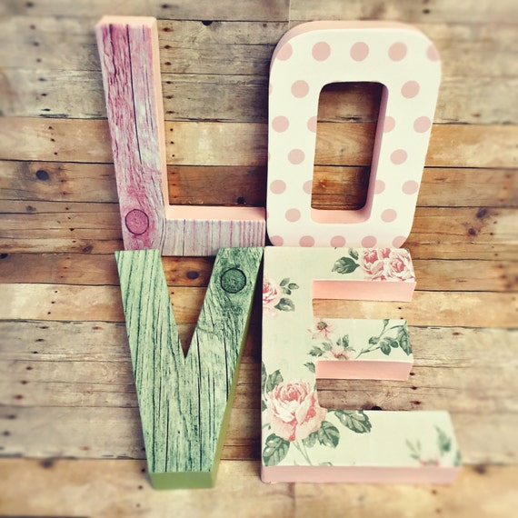 Shabby chic letters floral letters vintage letters glitter