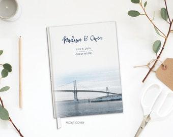 Wedding Guest Book - Custom Wedding Guest Book - Destination Wedding Guest Book -  Mount Hope Bridge, Bristol Rhode Island