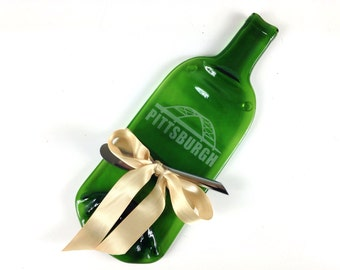 Pittsburgh Etched Green Wine Bottle Cheese Tray, by Mitchell Glassworks, Housewarming Gift, Penguins Hockey Gift