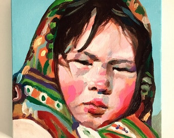 Girl with a headscarf- girl painting - original painting -acrylic painting on canvas - illustration painting