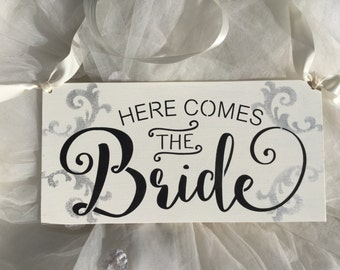Here comes the bride, weddings, wagon sign, toddler sign, shabby chic, KerriArt abcd1....Ready To Ship