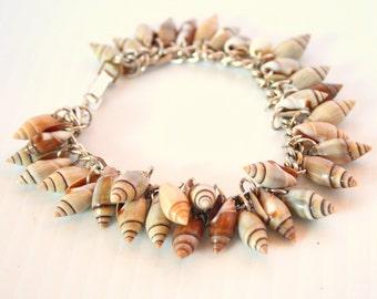 Seashell Bracelet Vintage Shell Bracelet Twisted Silvertone Links Signed GERMANY Cha Cha Charm Style