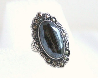 Vintage Black Onyx Marcasite Sterling Ring Vintage Silver Signed Italy