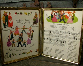 Vintage Music Book Pages Framed Farmer In The Dell Nursery Rhyme Child's Room Decor 1940s Illustration Framed Art