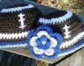 Newborn Dallas Cowboys Football Beanie Hat,  Boys or Girls Design.  Custom order also available all sizes.