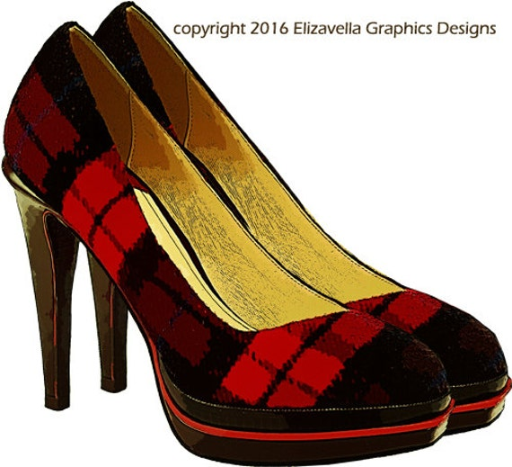 red black checker high heel womans shoe clip art digital graphics image download for scrapbooking tags t shirts totes cards etc...