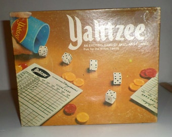 Vintage Yahtzee Game - 1975 Milton Bradley Game - Instruction Sheet - Dice - Dice Cup - Red and Yellow Chips - Original Box - Score Cards