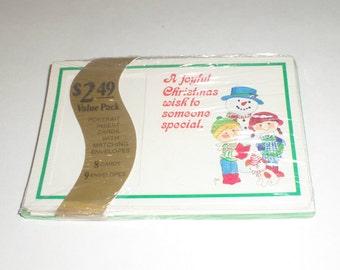 Snowman Portrait Cards - Vintage Christmas Cards - School Picture Cards - Litho USA - Vintage Portrait Christmas Cards - Family Cards