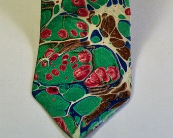 Men's Neck Tie 100% Silk, Stylish Pantone Colors of Lush Meadow, Denim, Potter's Clay, & Aurora Red MM-#52-16