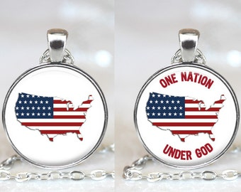 Patriotic Changeable Magnetic Pendant Necklace with Organza Bag - Choose Graphic