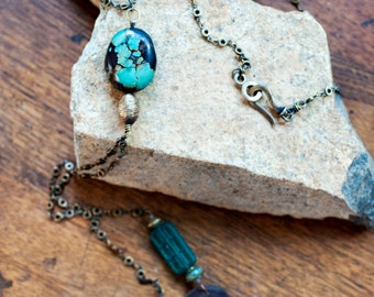 Extra Long Turquoise and Brass Lariat Necklace - Chinese Coin Necklace - Vintage Glass Beads - Boho, Hippie Chic Pendant -OOAK