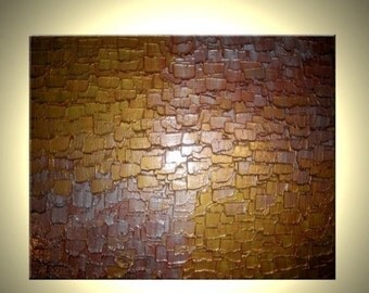 Abstract Art Gold Metallic Sculptured Canvas Contemporary Palette Knife Painting Sale 22% Off