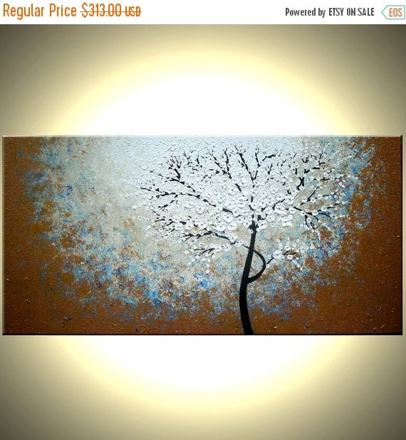 """Original Abstract Tree Painting, TEXTURED Cherry Blossom Flowers, Abstract Metallic WHITE Impasto FLORAL, 48x24"""" Lafferty"""