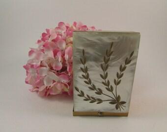 Vintage Brass and Mother of Pearl Cigarette Case Leaf Design