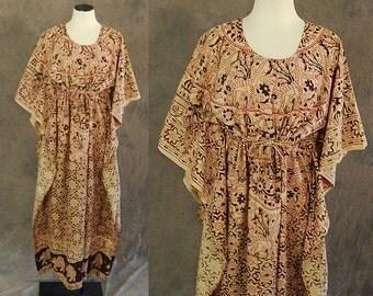 vintage 70s India Cotton Caftan - Block Print Maxi Dress -1970s Boho Ethnic Hippie Festival Dress Sz S M L