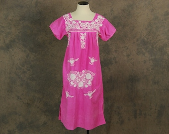 vintage 70s Peasant Dress - Hot Pink and White Boho Mexican Embroidered Tent Dress Sz S M L