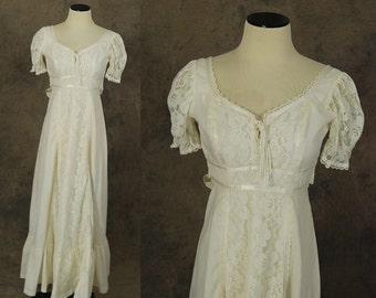 vintage 70s Prairie Dress - 1970s Boho Wedding Gown Dress - Corset Front White Lace Maxi Dress Sz XS