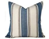 Blue Cream Throw Pillows, Cream Blue Grey Pillow Covers, Striped Blue Taupe Pillows, PillowThrowDecor, Beach House Decor, 18x18, NEW FALL